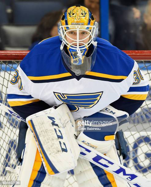 Goaltender Pheonix Copley of the St Louis Blues warms up before the game against the Tampa Bay Lightning at Amalie Arena on February 14 2016 in Tampa...