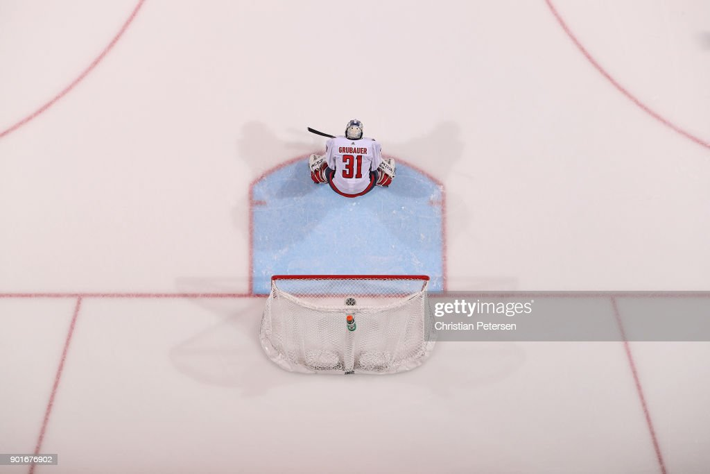 Goaltender Philipp Grubauer #31 of the Washington Capitals in action during the NHL game against the Arizona Coyotes at Gila River Arena on December 22, 2017 in Glendale, Arizona.