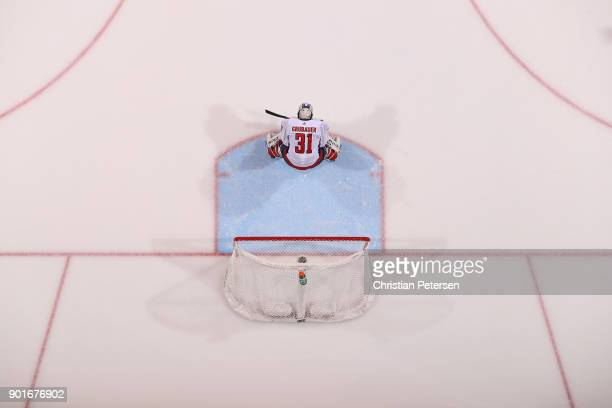 Goaltender Philipp Grubauer of the Washington Capitals in action during the NHL game against the Arizona Coyotes at Gila River Arena on December 22...