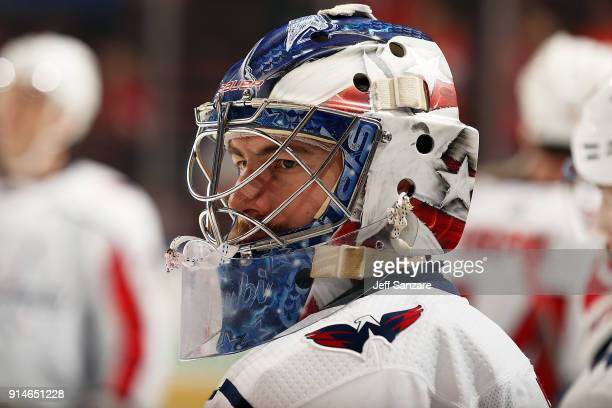 Goaltender Philipp Grubauer of the Washington Capitals warms up on the ice prior to the start of the game against the Florida Panthers at the BBT...