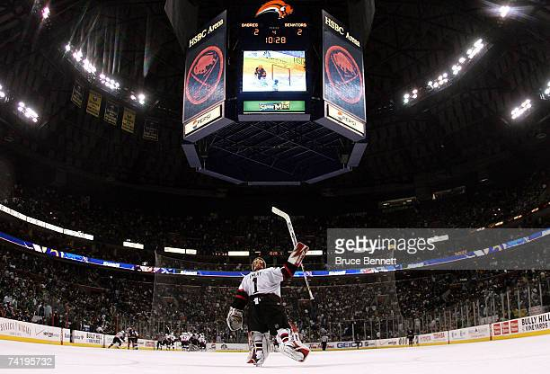 Goaltender Ray Emery of the Ottawa Senators celebrates his team's 32 overtime victory over the Buffalo Sabres in Game 5 of the 2007 Eastern...