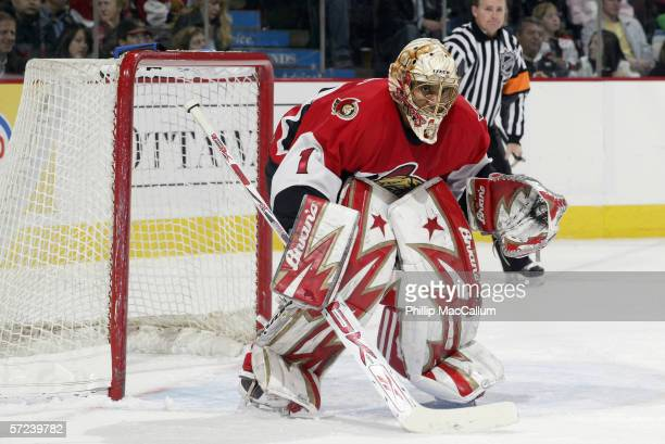 Goaltender Ray Emery of the Ottawa Senators guards the net during the game against the New York Rangers on March 30, 2006 at the Scotiabank Place in...