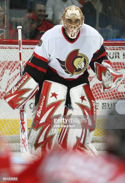 Goaltender Ray Emery of the Ottawa Senators in action during the NHL game against the Calgary Flames at Pengrowth Saddledome on December 10 2005 in...