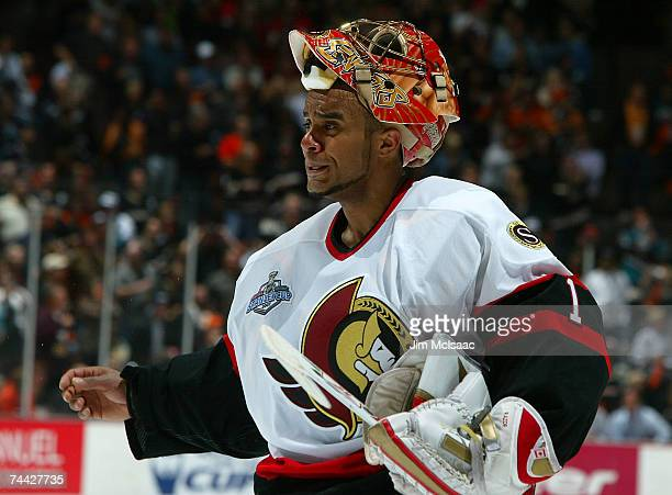 Goaltender Ray Emery of the Ottawa Senators reacts during the third period of Game Five of the 2007 Stanley Cup finals against the Anaheim Ducks on...