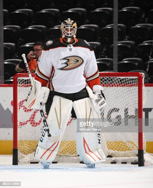 Goaltender Reto Berra of the Anaheim Ducks warms up prior to the game against the Colorado Avalanche at the Pepsi Center on October 13 2017 in Denver...