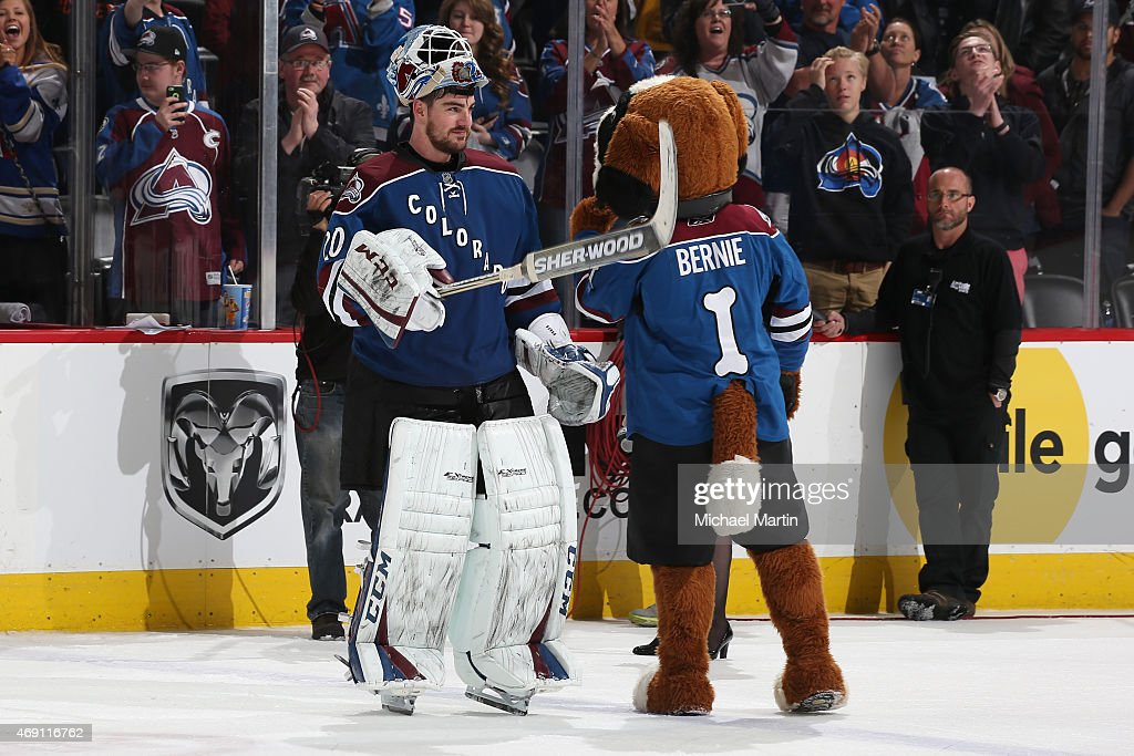 Goaltender Reto Berra #20 of the Colorado Avalanche celebrates a 41-save shut-out victory against the Winnipeg Jets at the Pepsi Center on April 9, 2015 in Denver, Colorado. The Avalanche defeated the Jets in an overtime shoot out 1-0.