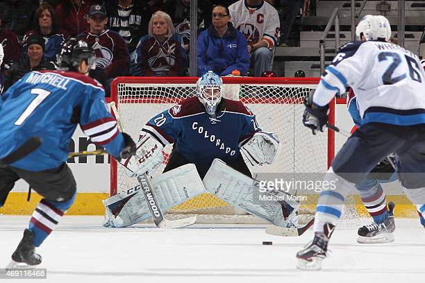 Goaltender Reto Berra of the Colorado Avalanche defends the net against the Winnipeg Jets at the Pepsi Center on April 9 2015 in Denver Colorado