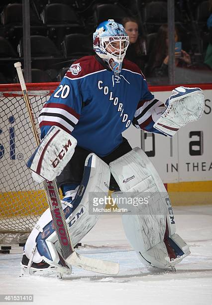 Goaltender Reto Berra of the Colorado Avalanche warms up prior to the game against the Ottawa Senators at the Pepsi Center on January 8 2015 in...