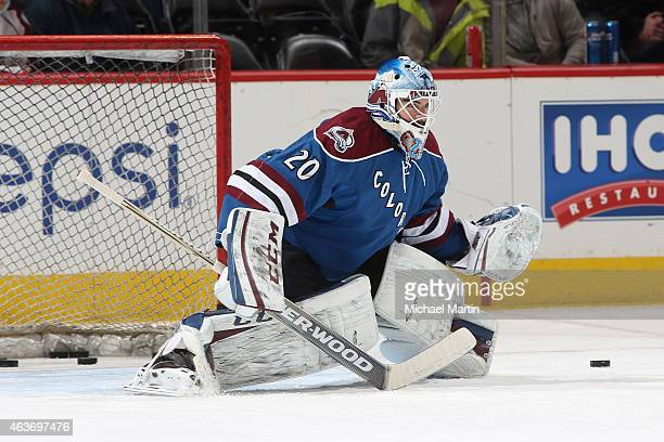 Goaltender Reto Berra of the Colorado Avalanche warms up prior to the game against the Arizona Coyotes at the Pepsi Center on February 16 2015 in...