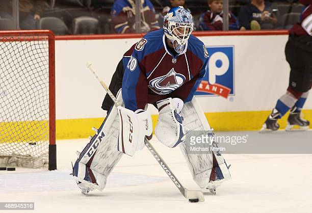 Goaltender Reto Berra of the Colorado Avalanche warms up prior to the game against the Nashville Predators at the Pepsi Center on April 7 2015 in...
