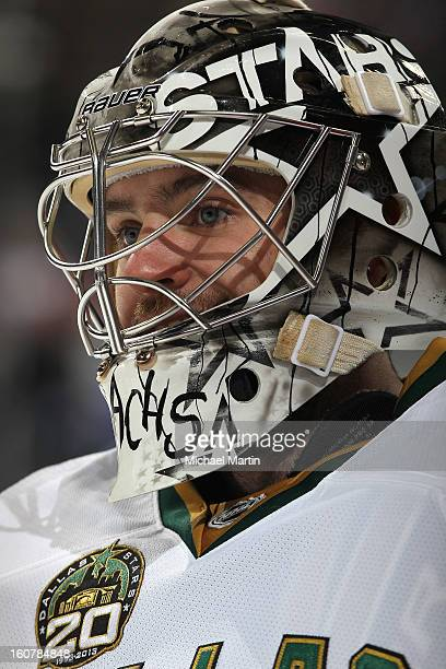 Goaltender Richard Bachman of the Dallas Stars skates prior to the game against the Colorado Avalanche at the Pepsi Center on February 4 2013 in...