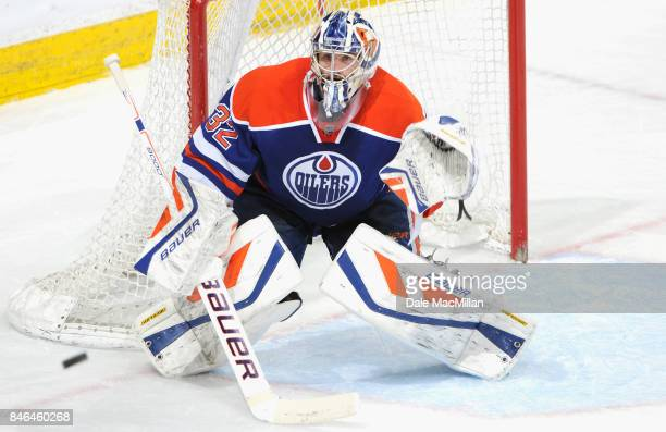 Goaltender Richard Bachman of the Edmonton Oilers plays in the game against the Dallas Stars at Rexall Place on March 27 2015 in Edmonton Alberta...