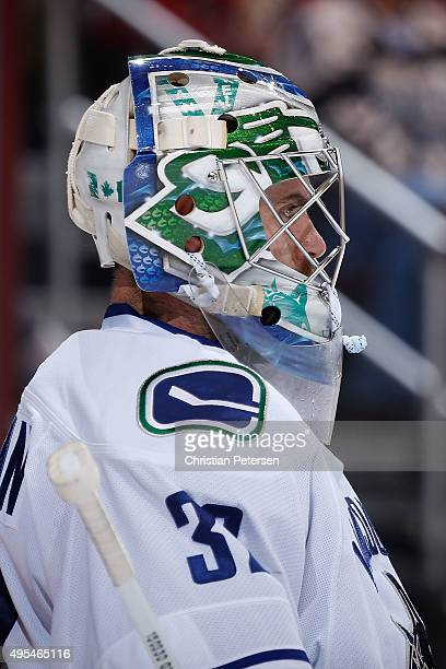 Goaltender Richard Bachman of the Vancouver Canucks during the NHL game against the Arizona Coyotes at Gila River Arena on October 30 2015 in...