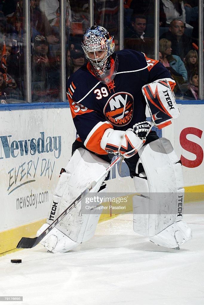 Goaltender Rick DiPietro of the New York Islanders attempts
