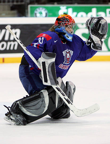 Goaltender Robert Kristan 33 Of Slovenia Guards The Net During IIHF World Championship Qualifying