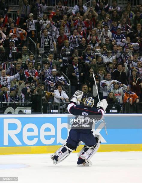 Goaltender Robert Zepp of EHC Eisbaren Berlin celebrates the victory with his fans after the IIHF Champions Hockey League Group A match between EHC...
