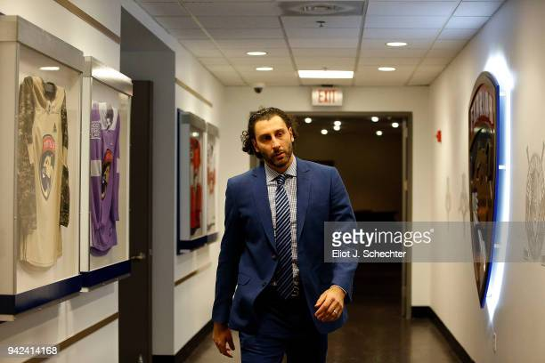 Goaltender Roberto Luongo of the Florida Panthers arrives for tonights game against the Boston Bruins at the BBT Center on April 5 2018 in Sunrise...