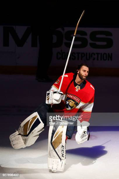 Goaltender Roberto Luongo of the Florida Panthers celebrates their 41 win over the Philadelphia Flyers at the BBT Center on March 4 2018 in Sunrise...