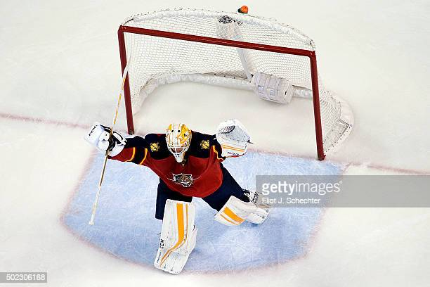Goaltender Roberto Luongo of the Florida Panthers celebrates their shootout win against the Ottawa Senators at the BBT Center on December 22 2015 in...