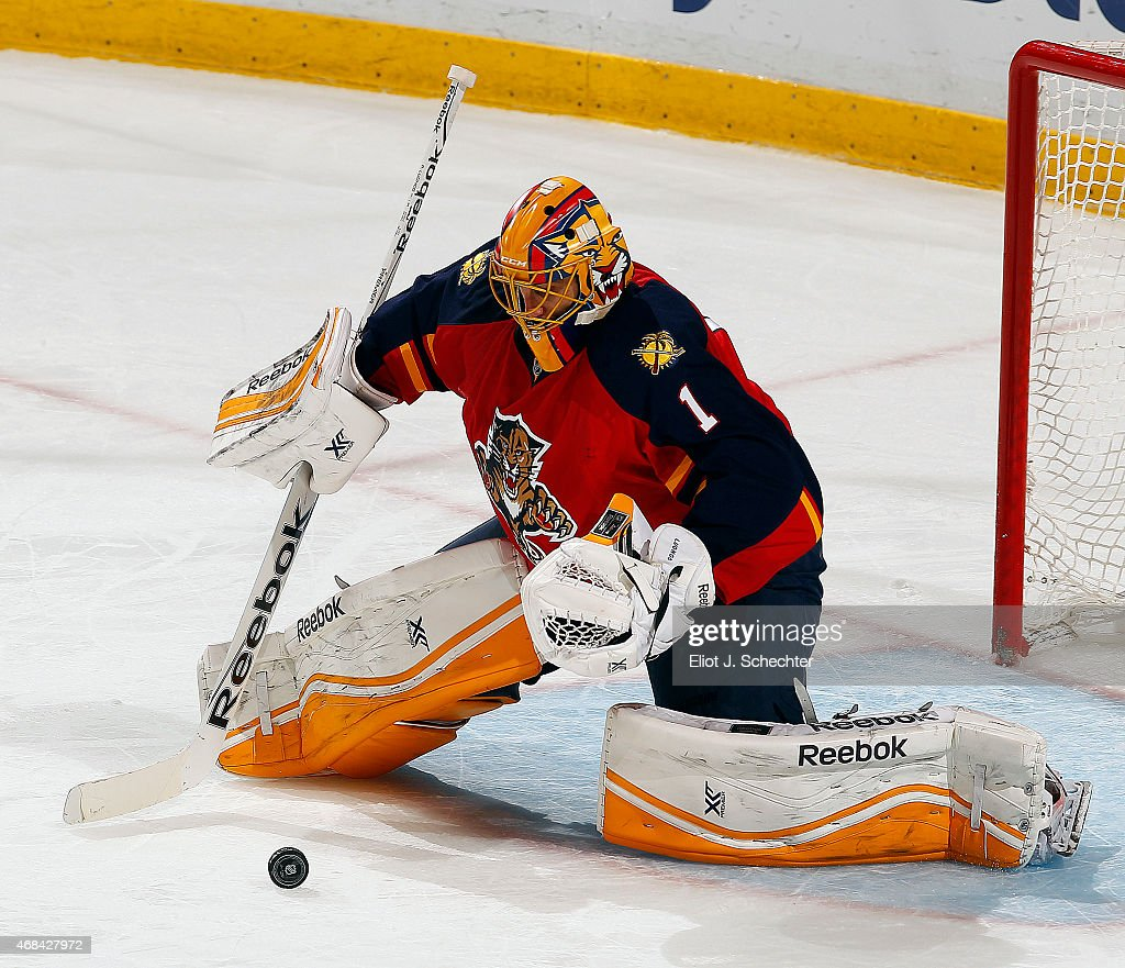 Goaltender Roberto Luongo #1 of the Florida Panthers defends the net against the Carolina Hurricanes at the BB&T Center on April 2, 2015 in Sunrise, Florida.