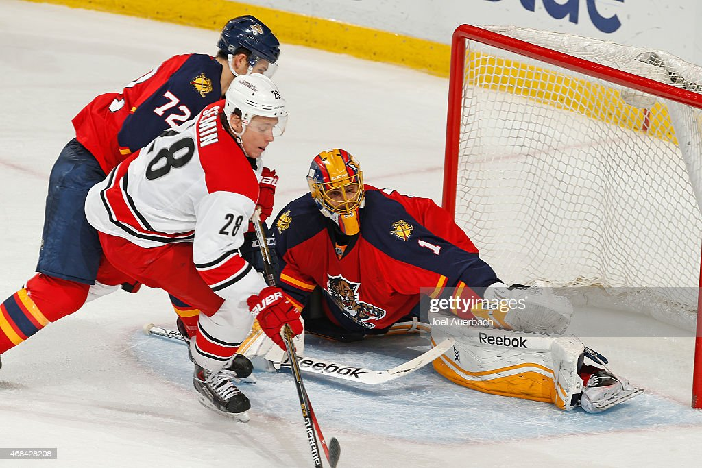 Goaltender Roberto Luongo #1 of the Florida Panthers defends the net against the shot by Alexander Semin #28 of the Carolina Hurricanes during third period action at the BB&T Center on April 2, 2015 in Sunrise, Florida. The Panthers defeated the Hurricanes 6-1.