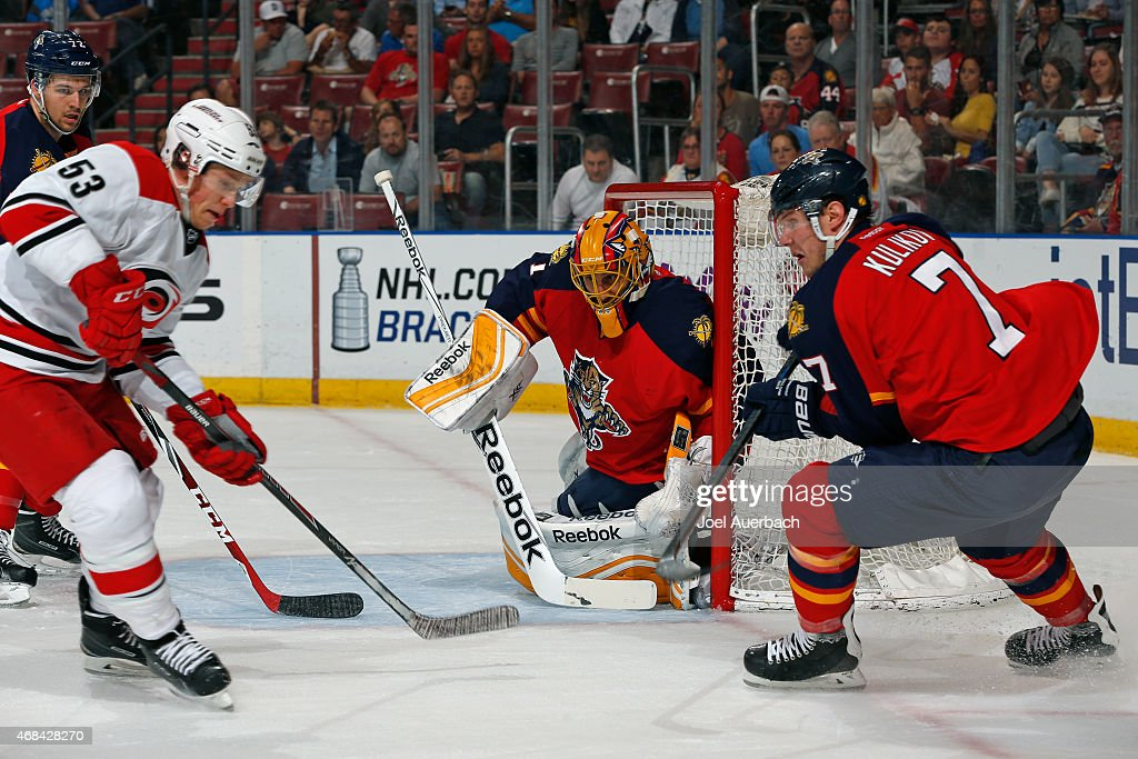 Goaltender Roberto Luongo #1 of the Florida Panthers defends the net against the Carolina Hurricanes at the BB&T Center on April 2, 2015 in Sunrise, Florida. The Panthers defeated the Hurricanes 6-1.