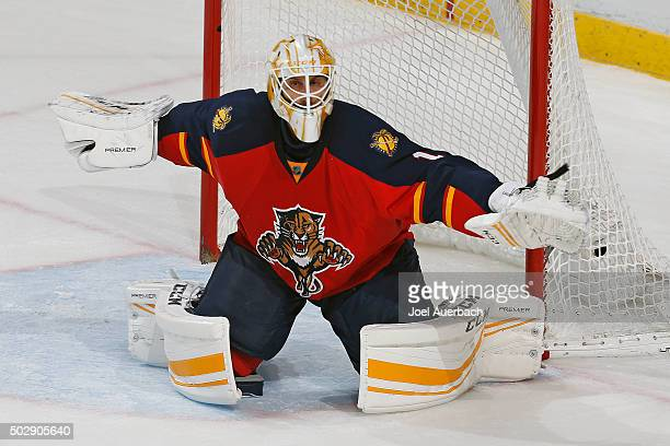 Goaltender Roberto Luongo of the Florida Panthers defends the net after losing his stick during third period action against the Montreal Canadiens at...