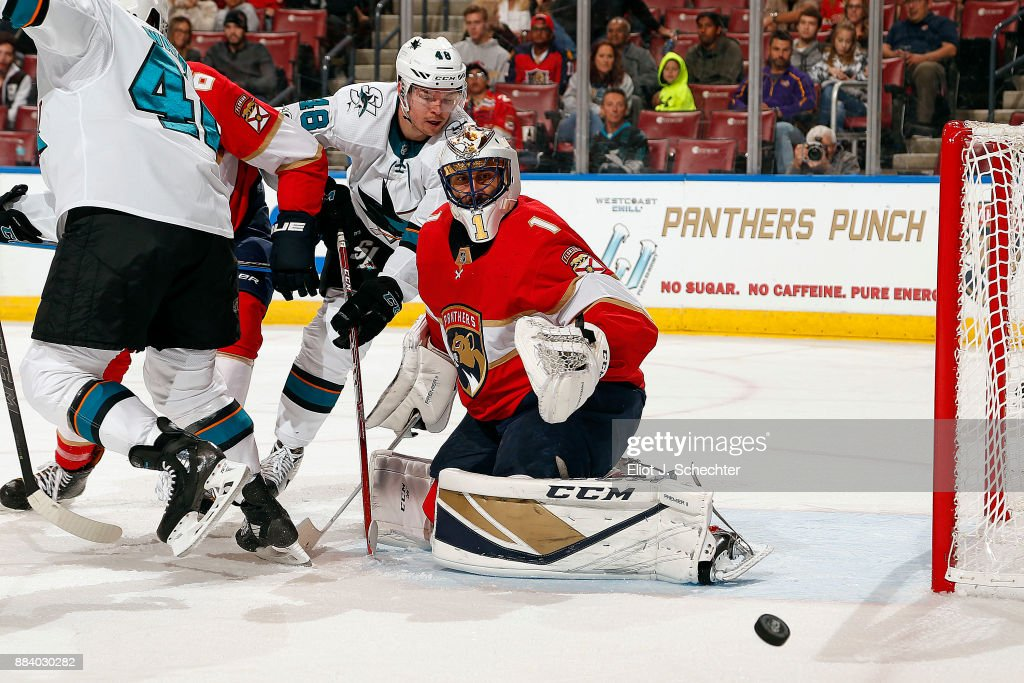 Goaltender Roberto Luongo Of The Florida Panthers Defends The Net