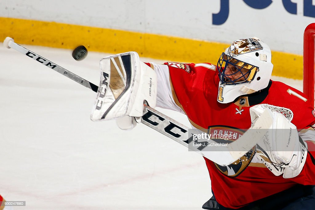 Goaltender Roberto Luongo #1 of the Florida Panthers defends the net against the New York Rangers at the BB&T Center on March 10, 2018 in Sunrise, Florida.