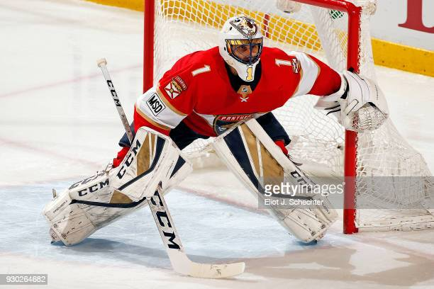 Goaltender Roberto Luongo of the Florida Panthers defends the net against the Montreal Canadiens at the BBT Center on March 8 2018 in Sunrise Florida