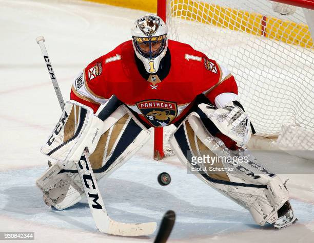 Goaltender Roberto Luongo of the Florida Panthers defends the net against the New York Rangers at the BBT Center on March 10 2018 in Sunrise Florida