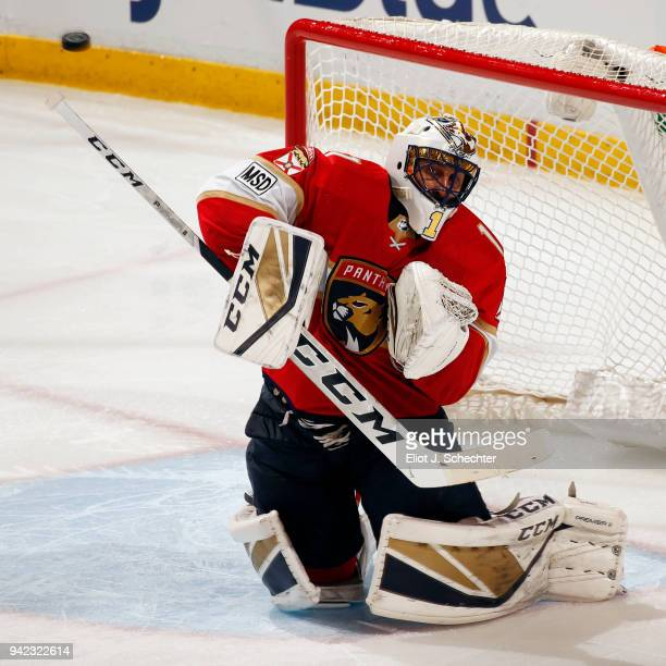 Goaltender Roberto Luongo of the Florida Panthers defends the net against the Nashville Predators at the BBT Center on April 3 2018 in Sunrise...