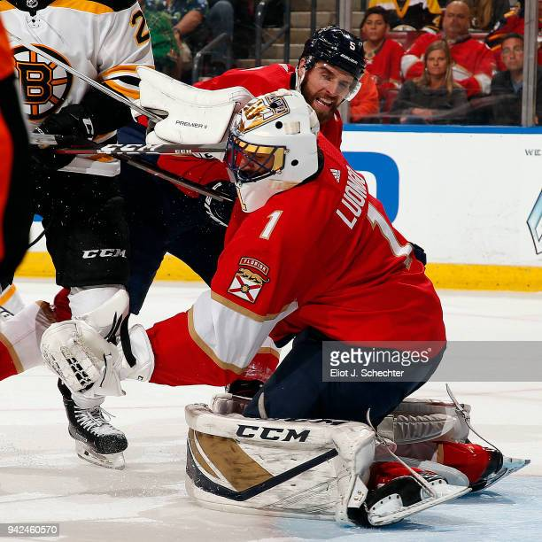Goaltender Roberto Luongo of the Florida Panthers defends the net during the second half against the Boston Bruins at the BBT Center on April 5 2018...