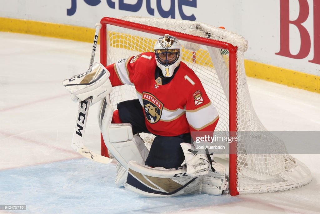 Goaltender Roberto Luongo #1 of the Florida Panthers defends the net against the Boston Bruins at the BB&T Center on April 5, 2018 in Sunrise, Florida. Luongo is playing in his 1,000 NHL game as a goaltender, joining Martin Brodeur and Patrick Roy in the exclusive club. The Panthers defeated the Bruins 3-2.