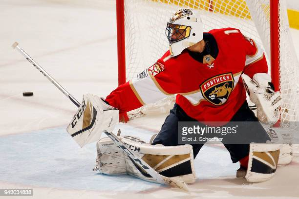 Goaltender Roberto Luongo of the Florida Panthers defends the net against the Boston Bruins at the BBT Center on April 5 2018 in Sunrise Florida...
