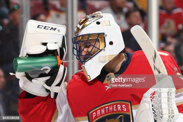 Goaltender Roberto Luongo of the Florida Panthers has a drink during a break in action against the Boston Bruins at the BBT Center on April 5 2018 in...
