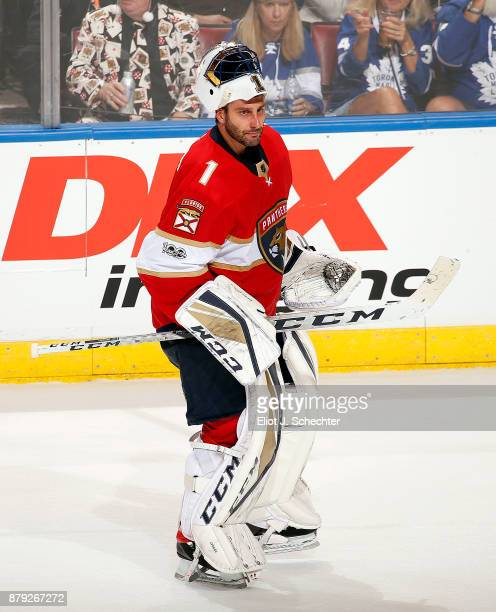 Goaltender Roberto Luongo of the Florida Panthers heads back to the net for overtime against the Toronto Maple Leafs at the BBT Center on November 22...