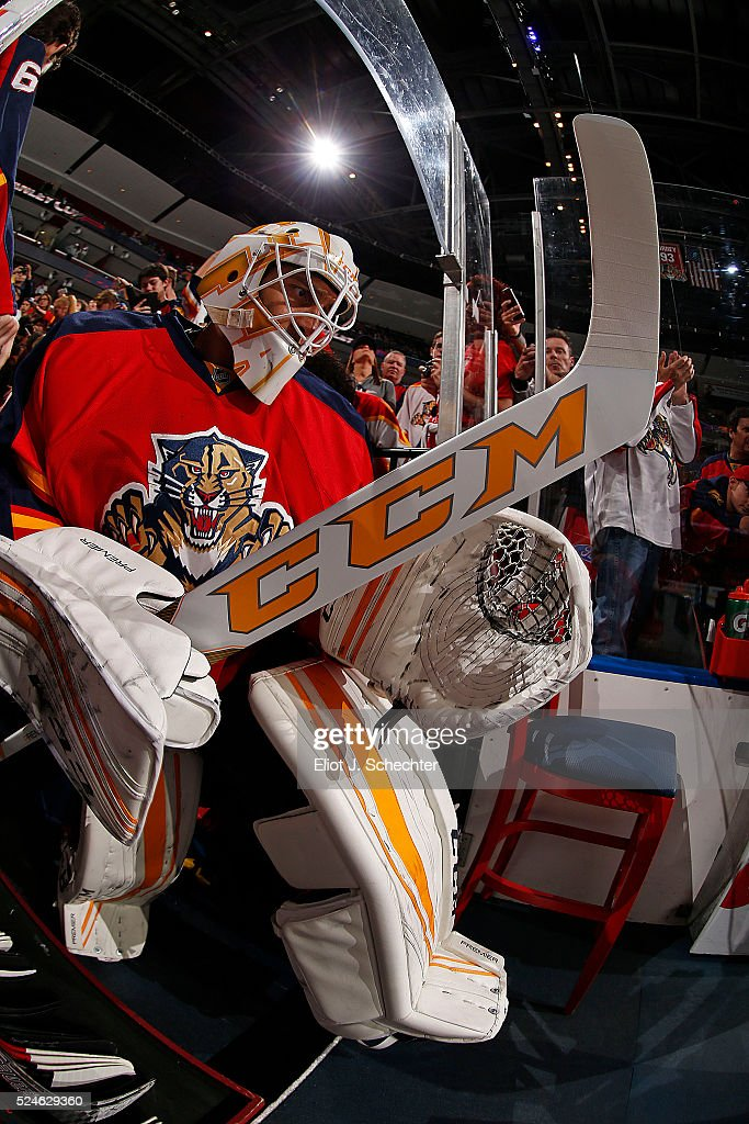 Goaltender Roberto Luongo Of The Florida Panthers Heads Out To The
