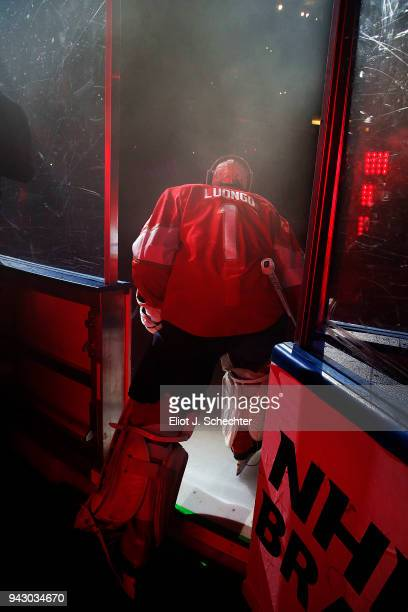 Goaltender Roberto Luongo of the Florida Panthers heads out to the ice before playing in his 1000th NHL game against the Boston Bruins at the BBT...