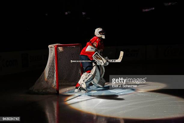 Goaltender Roberto Luongo of the Florida Panthers in front of the net before playing in his 1000th NHL game against the Boston Bruins at the BBT...