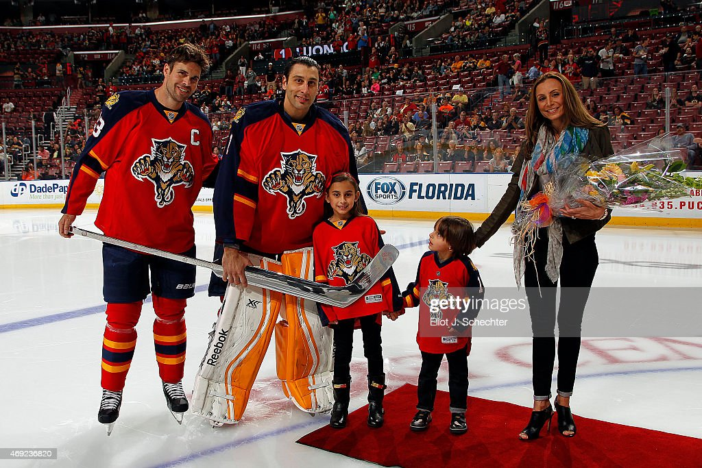 Goaltender Roberto Luongo Of The Florida Panthers Is Honored Before