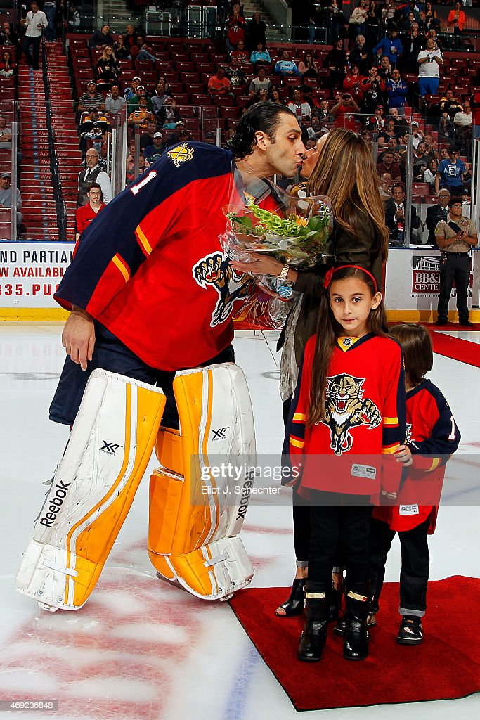 Goaltender Roberto Luongo Of The Florida Panthers Kisses His Wife
