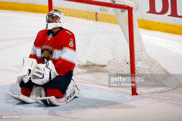 Goaltender Roberto Luongo of the Florida Panthers kneels in front of the net while waiting to hear if a goal was disallowed The Florida Panthers beat...