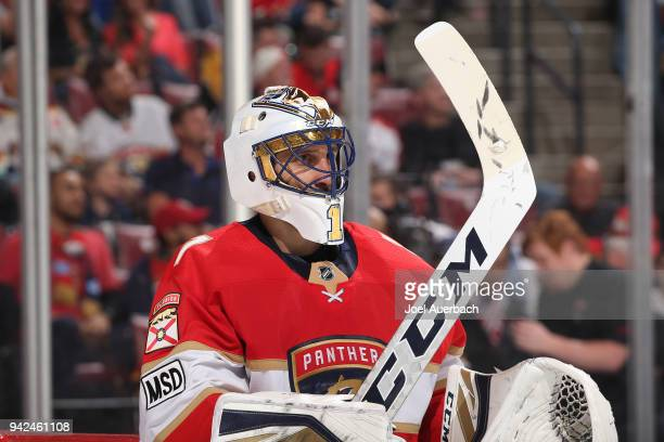 Goaltender Roberto Luongo of the Florida Panthers looks up ice during a break in action against the Boston Bruins at the BBT Center on April 5 2018...