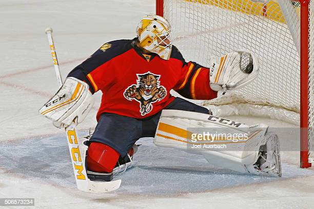 Goaltender Roberto Luongo of the Florida Panthers makes a glove save during third period action against the Tampa Bay Lightning at the BBT Center on...