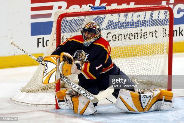 Goaltender Roberto Luongo of the Florida Panthers makes a stick save against the Atlanta Thrashers in the second period at the Bank Atlantic Center...