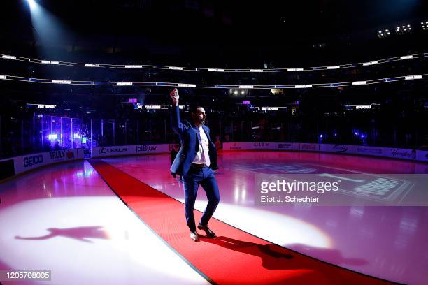 Goaltender Roberto Luongo of the Florida Panthers number is retired and raised to the rafters at the BB&T Center on March 7, 2020 in Sunrise, Florida.