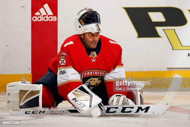 Goaltender Roberto Luongo of the Florida Panthers on the ice for warm ups prior to the start of the game against the Tampa Bay Lightning at the BBT...
