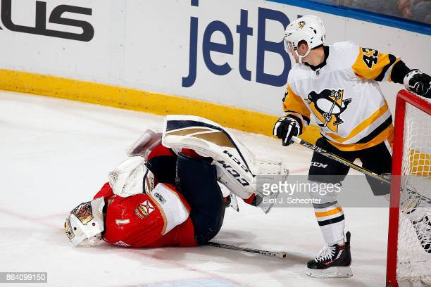 Goaltender Roberto Luongo of the Florida Panthers sits balled up on the ice after a collision with Conor Sheary of the Pittsburgh Penguins Roberto...