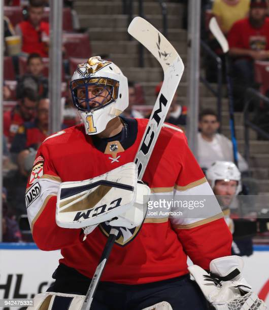 Goaltender Roberto Luongo of the Florida Panthers skates during a stoppage of play against the Boston Bruins at the BBT Center on April 5 2018 in...